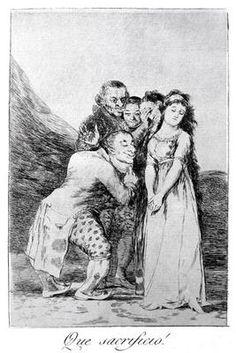 """Francisco José de Goya, """"What a sacrifice!"""" Plate 14 of 'Los caprichos', pub. 1799 (etching)"""