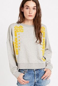 Staring at Stars Towelling Placement Sweatshirt in Grey - Urban Outfitters