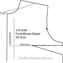 Pattern draft for front boatneck/bateau neckline