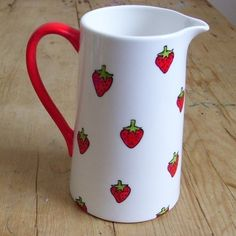Hand Painted English Bone China Strawberry Pitcher by scattyartist, $40.23