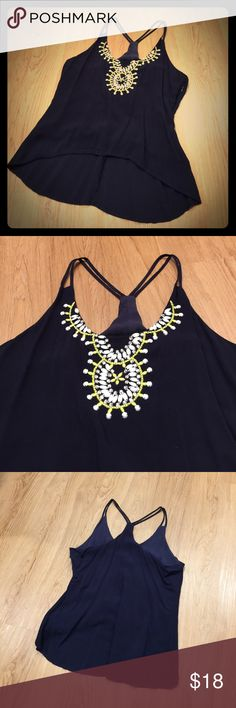 Beaded Tank Gorgeous navy tank with beaded, rhinestone design. Zips up the side. In perfect condition. Originally purchased from Apricot Lane Tops Tank Tops