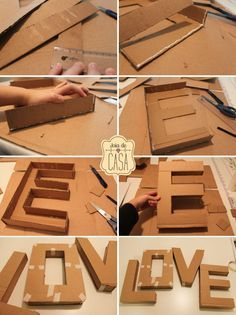 """DIY letters uploaded by gabidino on We Heart It DIY letter """"love""""<br> Cardboard Letters, Diy Letters, Cardboard Crafts, Diy Karton, Diy And Crafts, Crafts For Kids, Diy Room Decor, Paper Flowers, Diy Gifts"""