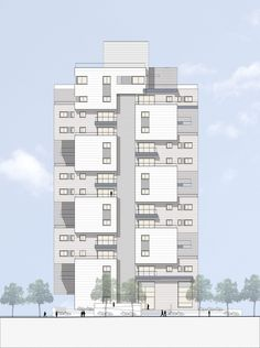 Gallery of Z Design Building / Ami Shinar – Amir Mann - 19 Architecture Panel, Concept Architecture, Residential Architecture, Modern Architecture, Drawing Architecture, Architecture Portfolio, Building Elevation, Building Exterior, Building Design