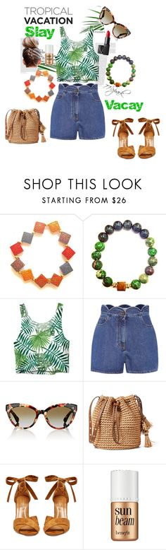 """""""Easy Travel Slay"""" by shop77spark ❤ liked on Polyvore featuring Valentino, Oliver Peoples, Aquazzura, Benefit and NARS Cosmetics"""