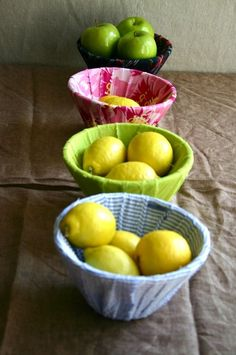 Wrap lampshades in scrap clothes and use as bowls. GENIUS!