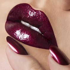Black metal dahlia' occ lip tar metallic lined with 'anti-fe Lip Art, Lipstick Art, Lipstick Colors, Lip Colors, Lipsticks, Dark Red Lips, Glossy Lips, Nail Effects, Nail Design Video
