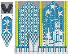 Photo from album Схемы жаккардов on Yandex.Disk - - View album on Yandex. Knitted Mittens Pattern, Knit Mittens, Knitted Gloves, Knitting Charts, Hand Knitting, Knitting Patterns, Theme Noel, Fingerless Mittens, Fair Isle Knitting