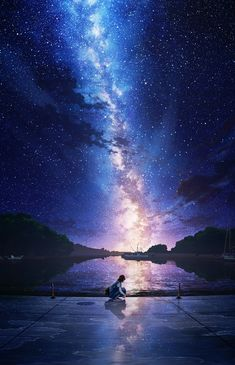 Inspirationally Sane By Art And Music : Photo Anime Backgrounds Wallpapers, Anime Scenery Wallpaper, Animes Wallpapers, Anime Artwork, Nature Wallpaper, Iphone Wallpapers, Sky Anime, Anime Galaxy, Galaxy Art