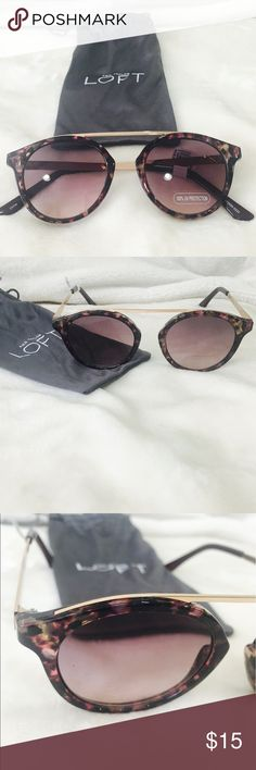 NWT Loft Gold Framed Sunglasses NWT. Effortless and artful sunglasses. These are for the cool girl in all of us. Just the right amount of edge. Top-bar design. Gold frame and details. Color is black with a speckled design.  Just gorgeous. LOFT Accessories Sunglasses