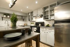 Painted cabinets look brand new with a few upgrades, Jeff & Kirsty Income Property Hgtv, Small Apartments, Small Spaces, Basement Apartment, Apartment Ideas, Painting Cabinets, Kitchen Decor, Kitchen Cabinets, Home And Garden
