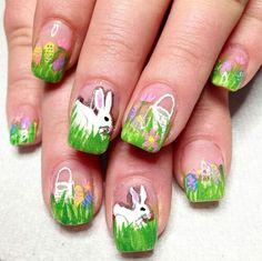 Spring Nail Art, Spring Nails, Bunny Nails, Easter Nails, Nail Art Designs, Beautiful, Easter Nail Art, Nail Designs
