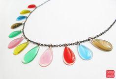 Colorful Statement Necklace TearDrop Necklace by petiteutile