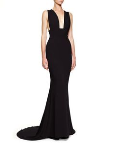 Plunging Sleeveless Godet Gown, Black by Stella McCartney at Bergdorf Goodman.