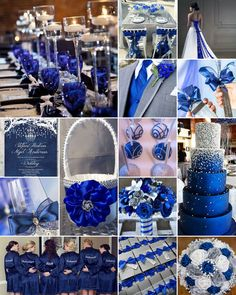 Royal Blue With Silver And Lace Wedding Reception Classic Weddings