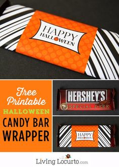 Free Printable Halloween Candy Bar Wrappers. LivingLocurto.com