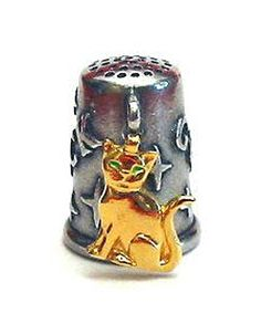 RP: Gold Plated Cat Thimble Good Luck Charm Pewter Collectible Thimble   Etsy.com