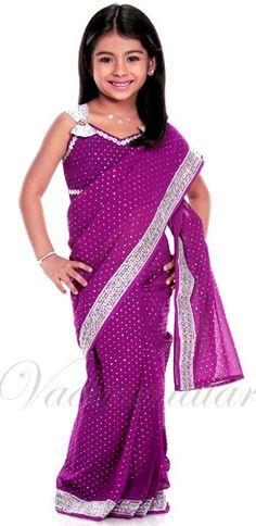 Little Girls Indian Girl Woman India Fancy Dress Readymade saree costume