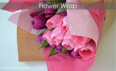 How to Wrap a Flower Bouquet. Easy to follow pictures showing how to wrap a bunch of flowers with different coloured paper. | The Things She Makes. http://thethingsshemakes.blogspot.co.uk/2014/03/flower-wrap.html