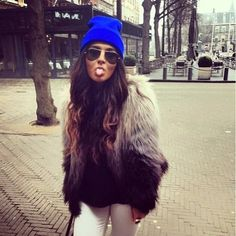 Fur and beanie! Is is colder yet?! Lol