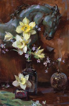 Dan Gerhartz is known for his romantic, painterly still lives, often featuring beautiful flowers. fine art for the home, romantic paintings, original fine art, original oil paintings, art by Dan Gerhartz, home decor, floral paintings, flower paintings, still life paintings