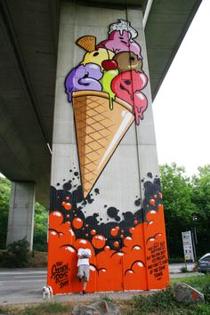 * Ice-Cream « Berlin based Streetart ~ Urban-Art Blog Since 1984 ~ *** ~ You can't buy Happiness, But you can buy Ice-Cream ~ and That's kind of the same thing (✿◠‿◠)