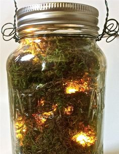 Firefly and Moss Reception Mason Jar by MandieCandy on Etsy, $15.00