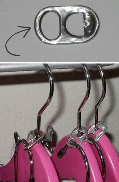 25 Lifehacks For Your Tiny Closet.use soda tabs to use one hanger for multiple items! Tiny Closet, Closet Space, Double Closet, Clever Closet, Small Closets, Double Wardrobe, Creative Closets, Open Closets, Simple Closet