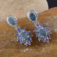 Australian Boulder Opal and Tanzanite Earrings in Platinum Overlay Sterling Silver (Nickel Free)