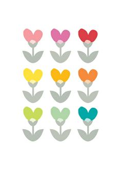 Heart flowers Art Print by hello olive | Society6