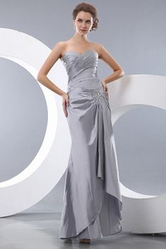 Silver Taffeta Trumpet/Mermaid Formal Gown sfp2026 - http://www.shopforparty.com/silver-taffeta-trumpet-mermaid-formal-gown-sfp2026.html - COLOR: Silver; SILHOUETTE: Trumpet/Mermaid; NECKLINE: Sweetheart; EMBELLISHMENTS: Beading , Ruched; FABRIC: Taffeta
