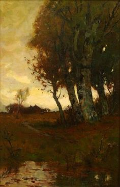 Sunset After Rain. ca. 1895  Oil on canvas 24 × 16 in. CHARLES MELVILLE DEWEY