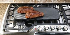 Indoor Grilling Tips from Ruth's Chris Steak House  Steaks----Start with thick high quality steaks with great marbling. Season with sea salt & fresh black pepper, drizzle with extra virgin olive oil, marinate 10 minutes at room temp. Get pan very, very hot. Sear for 1 1/2 min. each side, transfer to a cast iron pan & cook in 400 F oven 12 min for medium rare. Internal temp s/b 130 F.