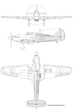 Drawing Hurricane Mk.2A The Spitfires, Hawker Hurricane, Battle Of Britain, Ww2 Aircraft, Aviation Art, Cutaway, Airplanes, Military, War