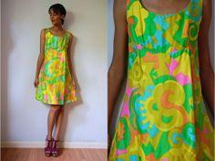 Vtg Lord & Taylor Neon Print Silk Taffeta by LuluTresors on Etsy, $59.99