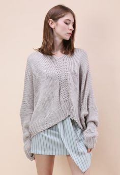 Knit Time to Relax Oversized Sweater in Grey - Tops - Retro, Indie and Unique Fashion