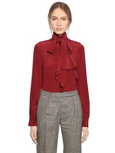 LARUSMIANI BOW COLLAR SILK GEORGETTE SHIRT, BORDEAUX. #larusmiani #cloth #shirts