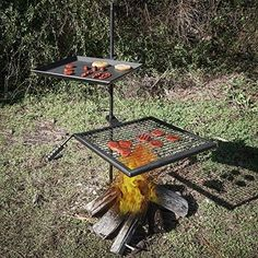 Titan Campfire Adjustable Swivel Grill Fire (Red) Pit Cooking Grate Griddle Plate BBQ