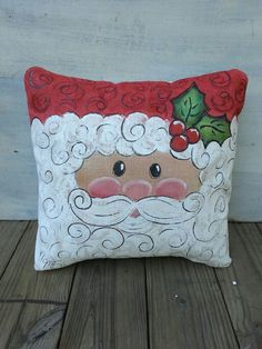 New 2016 Santa Claus, Christmas, Holiday Decorations, Accent Pillows, Indoor/Outdoor Cushions,  Hand-painted, Pillow Cover, No. 344