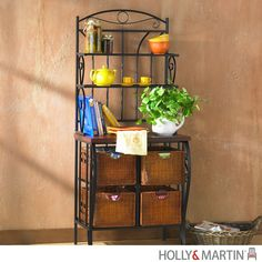 """Simple and stylish, this baker's rack solves the storage issues of the kitchen. Take advantage of the spacious four wicker drawers measuring 14"""" deep, 11"""" wide, and 8.5"""" tall to store your dishtowels,"""