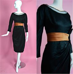 "1950's Vintage Black Silk Satin Copper Draped Sarong Beaded Dramatic Evening Gown Cocktail Dress Old Hollywood Curve Hugging 28"" Waist Med by RubyFayesVintage on Etsy https://www.etsy.com/listing/267342970/1950s-vintage-black-silk-satin-copper"