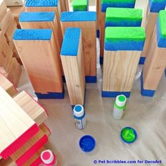 How to make a colorful outdoor giant Jenga game! Outdoor Jenga, Jenga Diy, Jenga Game, Outdoor Games, Diy Yard Games, Diy Games, Backyard Games, Backyard Projects, Outdoor Projects