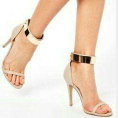 ASOS Heels NWOT Never worn gold metal strap heels from ASOS. ASOS Shoes Heels