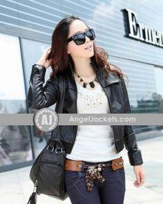 cb961eb58ef $90.00 - Stand Collar Long Sleeve Women Jacket Jacket Style, Leather Jackets,  Jackets For