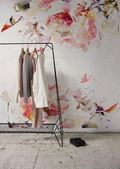 Lente bloemen verwisselbare behang aquarel muur