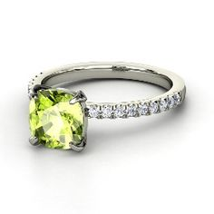 Pretty, pretty peridot! Cecilia Ring, Cushion Peridot White Gold Ring with Diamond from @Gemvara My birth stone :)