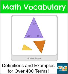 Elementary Math Vocabulary Dictionary with definitions, examples, and links to online math games for each term!