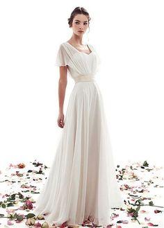 loose white gown | short sleeve | wedding | floor length