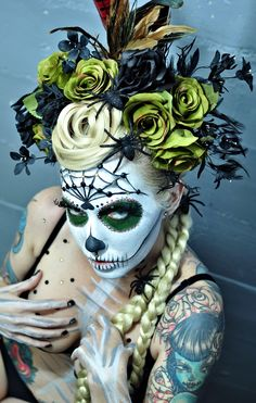 Flower Head piece Sugar Skull Makeup Love!. If you like UX, design, or design thinking, check out theuxblog.com