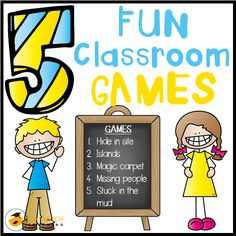 Do your students love to play fun classroom games? Here you'll find 5 cool games to use for a transition or as a refresher to motivate your students.