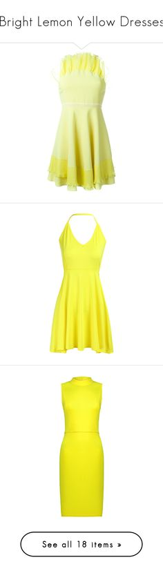 """""""Bright Lemon Yellow Dresses"""" by tegan-b-riley on Polyvore featuring dresses, yellow dress, short ruffle dress, short frilly dresses, short dresses, frilly dresses, yellow, halter dress, sexy dresses and sexy cocktail dresses"""